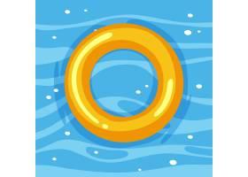 黄色游泳圆环在被隔绝的水中_15653921