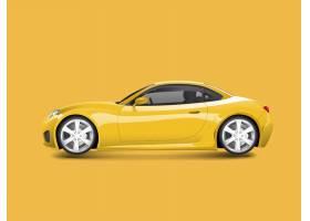 黄色跑车在黄色背景传染媒介_3601966
