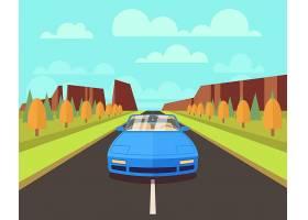 在路的汽车有在平的样式的室外风景_13153677