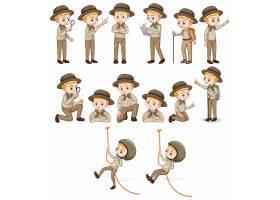 套徒步旅行队成套装备的男孩做不同的活动_13776287