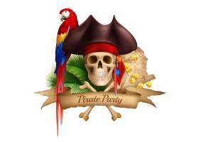 与老地图五颜六色的鹦鹉和帽子的海盗党现实_6801393