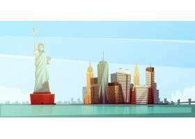 与自由帝国雕像雕象的纽约地平线设计概念克_4187159
