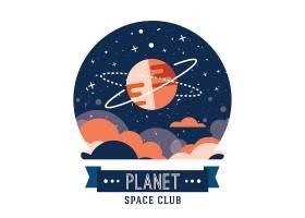 套葡萄酒空间和宇航员徽章象征徽标和标_3332081