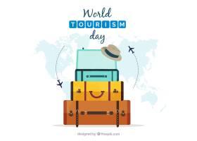 与行李和世界地图的平的构成_1268035