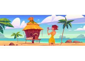 女孩拍风景与平房海和棕榈树的_13930863
