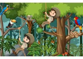 与许多孩子做不同的活动的森林场景_13774169