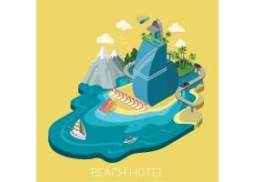 平的d等量创造性的海滩旅馆网infographics_11552718