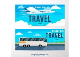 平面旅行横幅与飞机和公共汽车_1040563
