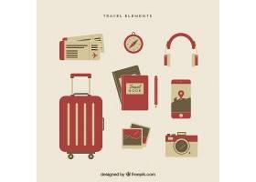平面样式的旅行元素集合_1761473