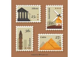 平面设计中的各种各样的城市邮票_1133970