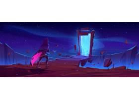 骑士和魔术门户在石框架的在山风景在晚上_12873063