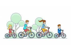骑自行车的平的线性家庭孩子在公园森林传染_16247449