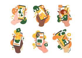 拿着有app集合的各种各样的手智能手机_9650978