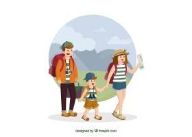 旅行在手拉的样式的愉快的家庭_1952387