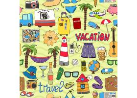 无缝矢量热带假期和旅行模式与描绘泳装灯塔_10608512