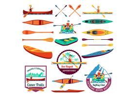 漂流划独木舟和皮划艇元素集_2869842