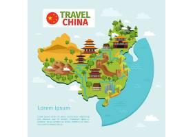 中国旅行矢量地图与繁体中文地标文化东亚_11054284