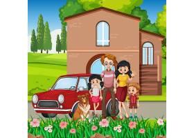 站立与汽车外面的愉快的家庭_14014131