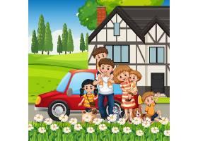 站立与汽车外面的愉快的家庭_16265222