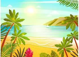 热带海滩平面海报打印_2873627