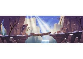 在岩石峭壁风景风景的冬天山的日志桥梁与冻_13875714