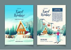 现代冬季度假村卡通广告小册子促销传单模_4758479