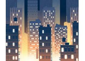 现代大厦的例证在晚上与都市大厦的背景_3264667