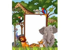 在雨林场面的空白的横幅与野生动物_13832774