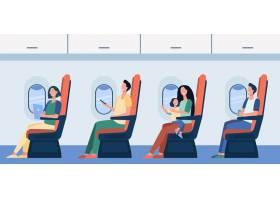 坐他们的位子的愉快的飞机乘客使用小配件_12291039