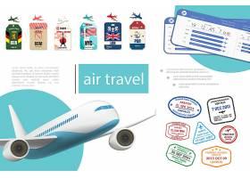 现实的航空旅行概念与飞机票标签和不同国家_12909918