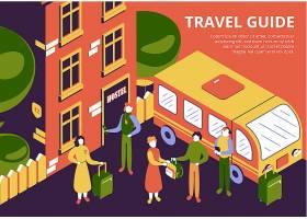 小组有行李和旅行指南的游人到达宿舍3d等量_14742511