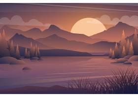 山和湖日落风景现实树在森林和山剪影晚_13330452