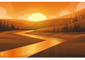 山河和森林的自然风景最好的场面有日落的_13330426