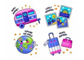 平面设计旅行贴纸的集合_15266714