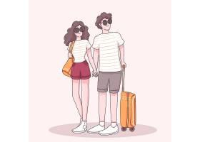 年轻旅行者夫妇穿戴太阳镜站立与手提箱和手_13330956