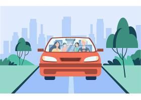 愉快的家庭夫妇和两个孩子骑在汽车父亲驾_11671712