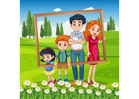 愉快的家庭照片框架在假期_14014108
