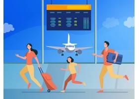 愉快的家庭跑用于飞行登记旅游行李平_12291049
