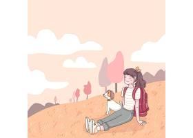 愉快的少年背包徒步旅行者坐有她的狗的草甸_13330964