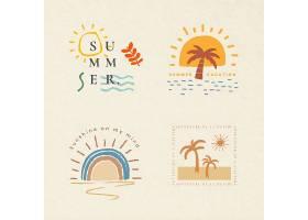 暑假色彩缤纷的徽章矢量T恤打印设计元素集_16253061