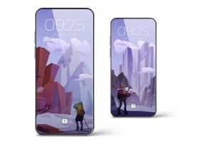 有屏幕保护程序的智能手机与冬天山风景和远_15679002