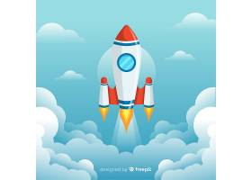 有平面设计的可爱的太空火箭_2849103