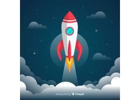 有平面设计的可爱的太空火箭_2849104