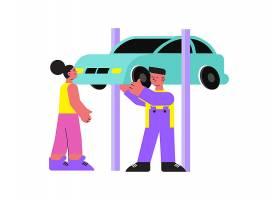 有汽车的平的男性技工帮助的妇女_15075825
