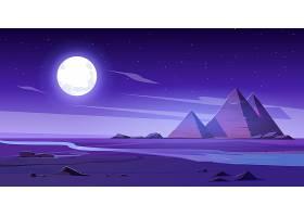有河和金字塔的埃及沙漠在晚上_12332068