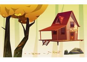 木房子和树与黄色叶子石头和下落的叶子_12760779