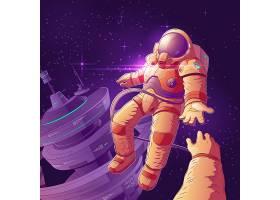 未来的太空游客在轨道卡通夫妇夫妇_3823963