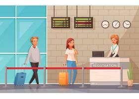 男人和妇女有手提箱的在登记办公桌附近在机_14739190