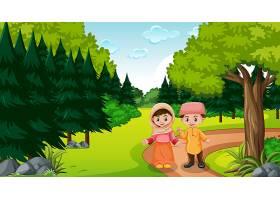 穆斯林孩子在森林里穿着传统衣服_16264985