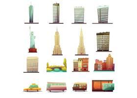 纽约城市建筑标志性旅游景点和运输元素_3792193